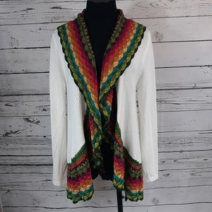 Double Zero brand, white sweater/shrug, multicolor